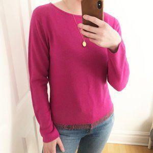 Stunning Vintage 90's Beaded Fringe Pink Sweater